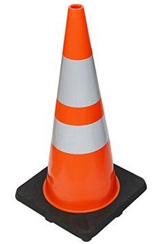 Set of 24 RK 28 Orange Safety Traffic PVC Cones with 6 4 Reflective Collars,Black Base