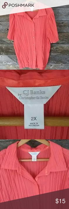 CJ Banks 2X Cringle Button Down Blouse CJ Banks 2X Cringle Button Down Blouse. Shirt Sleeve. Ready for Spring and Summer  **Please take a look at my other LB items**  **All Lane Bryant cloths below $15.** Cj Banks Tops Blouses