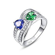 Merthus 925 Sterling Silver 1.5 cttw Heart Created Sapphire & Green Nano Emerald Ring
