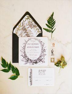 Black and white wedding ideas. Stationery By: Sweet Magnolia Paper #weddingchicks http://www.weddingchicks.com/2014/06/26/black-and-white-wedding-ideas/