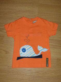 Camiseta personalizada a mano con telas, fieltro y botones. Ballena, Balena, Baleine, Whale