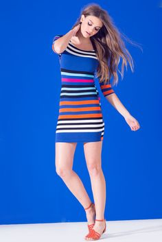 Multi Stripe Boatneck Bodycon DressMulti Stripe Boatneck Bodycon Dress