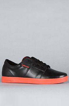Brand: Supra. Title: The Stacks Sneaker in Black Full Grain Leather & Coral. Price: $85. Purchase it here: http://www.karmaloop.com/product/The-Stacks-Sneaker-in-Black-Full-Grain-Leather-Coral/213484
