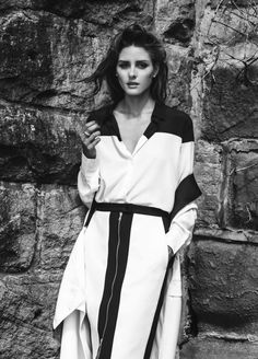 Olivia Palermo in Josh Goot skirt & coat dress for Miss Vogue  I black and white photography #bw