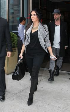 Kim Kardashian wearing Chanel Quilted Frame Bag Christian Louboutin Monica Over The Knee Boots Eugenia Kim Slouchy Velvet Newboy Cap. Kim Kardashian Out in NYC November 6 2010.