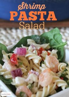 Delicious and healthy Shrimp Pasta Salad Recipe. This is also a great party dish. Best Salad Recipes, Healthy Recipes, Amazing Recipes, Healthy Meals, Delicious Recipes, Healthy Food, Yummy Food, Side Dishes Easy, Side Dish Recipes