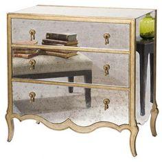 Eckart Mirrored 3-Drawer Chest, Brass on shopstyle.com