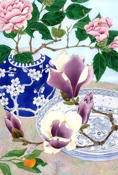 Camelias and Magnolias: Gabby Malpas watercolour by GabbyMalpas Watercolor And Ink, Watercolour Painting, Watercolor Flowers, Watercolours, Floral Illustrations, Botanical Illustration, Illustration Art, Photografy Art, Still Life Art