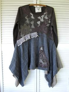 Eco upcycled clothing earthy Bohemian by lillienoradrygoods- this top takes a long sleeved T shirt and two long sleeved men's dress shirts, cut the men's shirts right up the back, attach one shirt to the front and the back of the shortened T shirt.