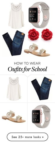 """Simple teen school outfit"" by mirandapaige25 on Polyvore featuring American Eagle Outfitters, RVCA and Jack Rogers"