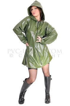 Ladies Fashion A line Jacket. Very simple in design this jacket has a flared outline with a clean front with no pockets. It has a full length zipper and drawstr Mackintosh Raincoat, Pvc U Like, Rain Jacket, Bomber Jacket, Vinyl Clothing, Rain Suit, Pvc Raincoat, Wellington Boot, Line Jackets