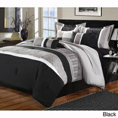 Chic Home Euphoria 8 Piece Embroidered Comforter Set Embroidery Pintuck Bedding With Bed Skirt And Decorative Pillows Shams King Black White Bedroom Comforter Sets, Black Comforter, Blue Comforter Sets, King Comforter, White Bedding, Silver Bedding, Grey Duvet, Teal Bedding, Striped Bedding