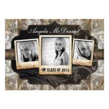 Rustic Photo Graduation Announcement Invite from zazzle