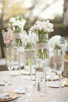 simple beautiful table arrangements - especially pretty outdoors