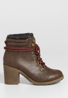 Jordanna heeled hiker bootie with knit cuff in brown