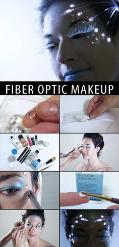 Optic Makeup For an entirely unique and ethereal look, check out fiber optic makeup.For an entirely unique and ethereal look, check out fiber optic makeup. Alien Makeup, Sfx Makeup, Cosplay Makeup, Costume Makeup, Robot Makeup, Makeup Art, Makeup Ideas, Festival Looks, Fiber Optic Dress