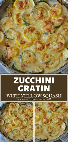 ZUCCHINI GRATIN WITH YELLOW SQUASH - - Tender pieces of zucchini and yellow squash in a mouthwatering creamy cheese sauce. This delectable easy skillet vegetable will quickly become one of your family favorites. Zuchinni Recipes, Veggie Recipes, Low Carb Recipes, Vegetarian Recipes, Cooking Recipes, Healthy Recipes, Baked Squash And Zucchini Recipes, Gluten Free Zucchini Bread, Vegetarian