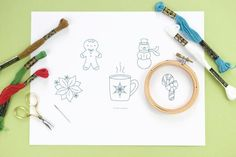Stitch these sweet mini embroidery patterns for the holidays. They are fast to embroider and make into ornaments.