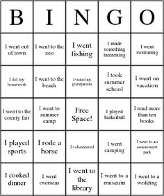 Back to School Bingo - make your own cards.