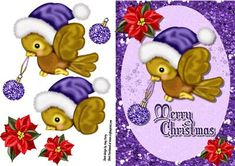"Cute Bird With Purple Hat on Craftsuprint designed by Amy Perry - Cute Bird With Purple Hat in lovely purple glitter frame with corner flowers with ""Merry Christmas"" also has decoupage  - Now available for download!"