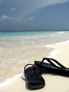 Flip flops on Seven Mile Beach, Grand Cayman