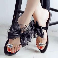 Big Size Butterflyknot Lace Bead Crystal Clip Toe Flat Flip Flops Sandals