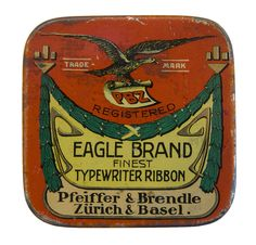 Eagle Brand Typewriter Ribbon Tin Canister