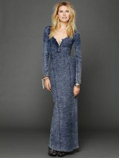 Blue Ginger Seam Column Dress Amazing Versatile Style! Can wear alone or layer with a flannel or button up white top with a belt or black leather jacket.   #FreePeople #Maxi