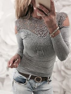 Grey Lace Details Cold Shoulder Long Sleeves Sexy T-shirt
