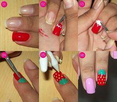 Tutorial nail art: strawberry #nails #howto #nailart #polish - bellashoot.com