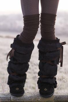 Black Tall Wrap Mukluk Boots // KD124