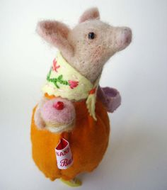 Needle Felted Animal Lady Pig  with Pink Iced  Bun by MissBumbles