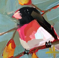 Rose Breasted Grosbeak no. 16 Art Print by Angela Moulton 6 x 6 inch