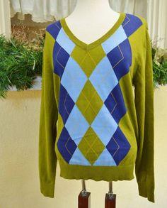 Izod V Neck Argyle Golf Tennis Pull Over Sweater L Classic Comfy Cute Fun #Izod #VNeckPullOver
