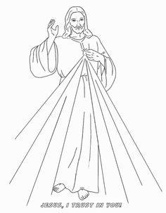 Divine Mercy Catholic Coloring Image.  Feast day of Saint Faustina is October 5th, while the feast of Divine Mercy is the first Sunday after Easter Sunday.