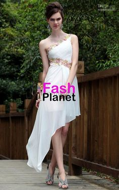 Elegant A-line One Shoulder Simple Evening Dress Fashion High Low Prom Dresses, Strapless Cocktail Dresses, Homecoming Dresses, Sexy Dresses, Bridal Dresses, Evening Dresses, Fashion Dresses, Formal Dresses, Dresses 2013