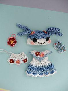 "Crochet Doll Clothes Blue Flower Loopsy for 4 ½"" Kelly Same Sized Dolls | eBay"