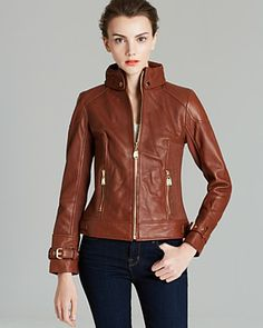 Via Spiga Collared Front Zip Leather Jacket | Bloomingdale's