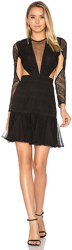 Shona Joy Moliere Long Sleeve Backless Mini Dress in Black