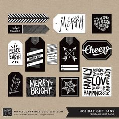 Christmas Holiday Gift Tag Labels  Modern Black by SquawkBoxStudio