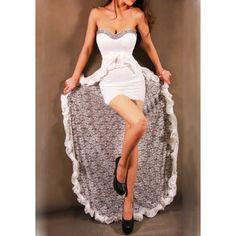 GM-Fashion White Patchwork Lace Beading Ruffle Backless Bridemaid Prom Maxi Dress