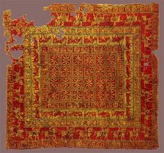 The Pazyryk Carpet. Circa 400 BC. Hermitage Museum considered to he the oldest carpet in the world to date.