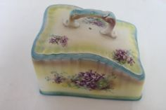 Vintage Blue Yellow Large Cheese Dish Lid Purple by PeggysTrove, $30.00