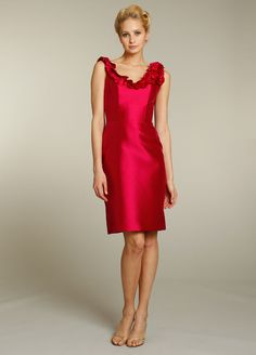 Cherry mikado modified A-line bridesmaid dress, scoop neckline with raw edge bias ruffle trim, natural waist.    Available in stores Summer 2011.