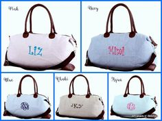 Check out this item in my Etsy shop https://www.etsy.com/listing/399486499/monogrammed-seersucker-weekender-duffle
