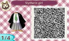 SLYTHERIN GIRLS OUTFIT. HARRY POTTER. HP. ANIMAL CROSSING NEW LEAF. QR CODE. ACNL. PINNED BY Stephy Sama