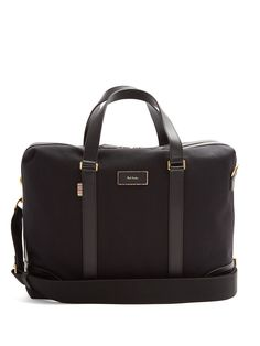 PAUL SMITH Leather-Trimmed Canvas Briefcase in Black