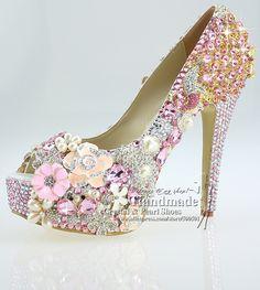 shoes woman High Quality Lace-up peep toe design your own wedding shoes with pink brooches