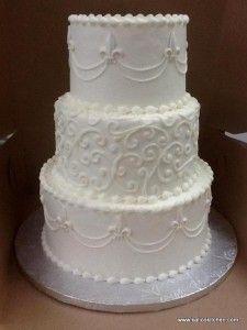 Wedding Cakes- 3 tier, buttercream, white, Fleur de Lis, scroll work