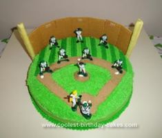 Homemade Baseball Birthday Cake:  I used a 14 round pan and two cake mixes. The infield dirt is made out of brown sugar.